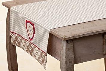 Tirol Tischlaufer 140x45 Cm Braun Creme Rot Mit Wappen Baumwolle