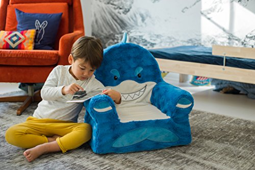 51qokwNfvlL - Animal Adventure Sweet Seats | Blue Shark Children's Chair | Large Size | Machine Washable Cover