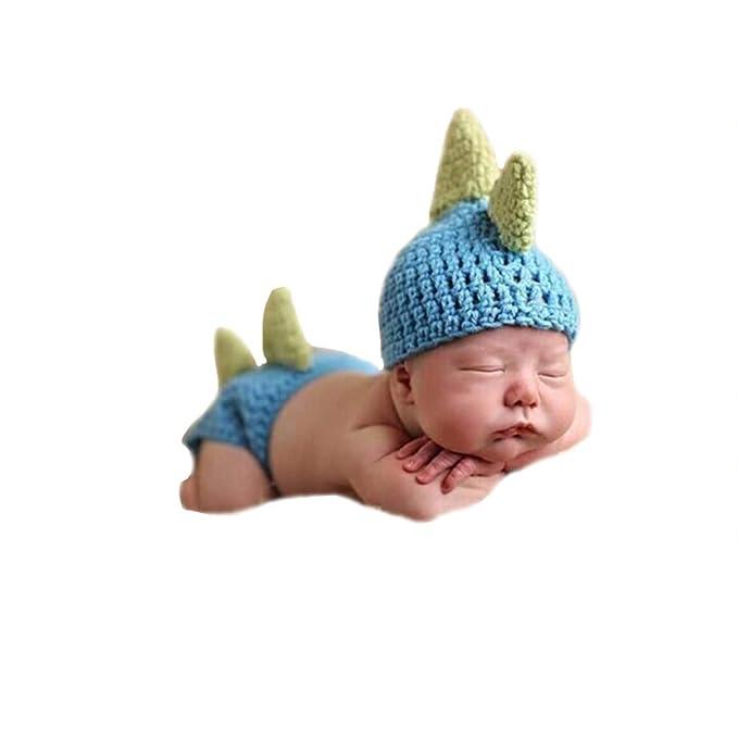 ef5e89c29 Shark strawberry Cute Baby Newborn Dinosaur Costume Crochet Knitted Costume  Hat Photography Props (Blue)