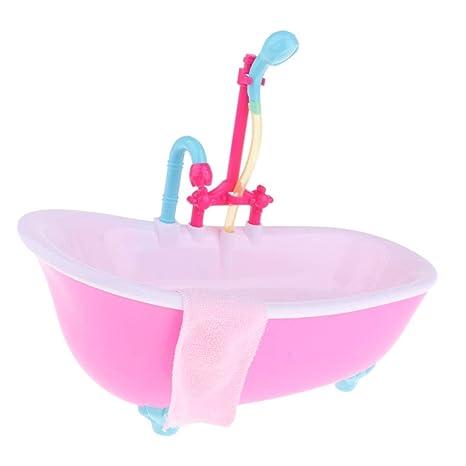 F Fityle Modelo Bañera con Luz Mini para Dollhouse 9 -10 Pulgadas