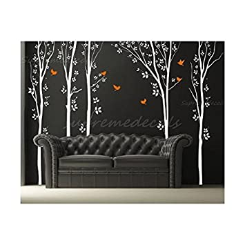 Amazon.com: Custom Color PopDecals - Forest with Flying Birds ...