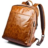 Oil Wax Waterproof Bag,iCare® Premium Retro Business Genuine Leather Men's Backpack School Bag Laptop Tablet Sleeve (Yellow Gold) offers