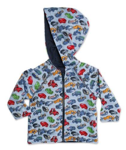 Blue Reversible Zip Hoody Sweatshirt - Zutano Baby Boys Motorway Reversible Zip Hoodie, Chambray, 6M