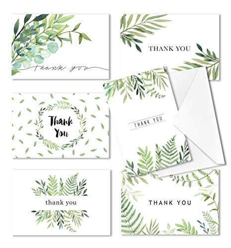 Thank You Cards, Baby and Bridal Shower Thank-You Cards, 4x6 Thank You Cards, Bulk Thank You Cards Wedding, Blank on the Inside, Watercolor Foliage Thank You Notes - 36 Pack, -