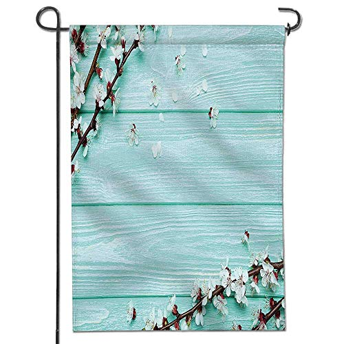(Mikihome Double Sided Premium Garden Flag,Cherry Blossom Petals Branch on Rustic Wooden Planks Seasonal Picture White Brown Seafoam Weather Resistant & Double)