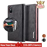 """iPhone X Case,iPhone 10 Case,G-CASE [Celebrity] Vegan Leather Folio Flip Shock-proof Wallet Case,Multi Holder for Card/Cash/ID,Support Wireless Charging Protective Cover for Apple 5.8"""" iPhone X-Black"""