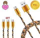 Type C to Type A Cable, SOGOLA Nylon Braided Charging Cord Data wire Power Line [High Speed] for Samsung Galaxy S8, S8 Plus,Google Pixel,LG V20/G5/G6..(Camo Gold+Green) (3Pack/6ft)