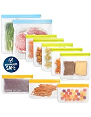 10 Pack Dishwasher Safe Reusable Food Storage Bags (5 Resuable Sandwich Bags, 3 Reusable Snack Bags, 2 Freezer Gallon Bags), Extra Thick Leakproof Silicone & Plastic Free Ziplock Bags