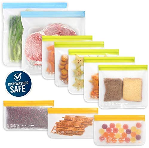 10 Pack Dishwasher Safe Reusable Food Storage Bags (5 Resuable Sandwich Bags, 3 Reusable Snack Bags, 2 Freezer Gallon Bags), Extra Thick Leakproof Silicone & Plastic Free Zip-lock Bags