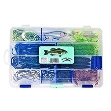 Bass Fishing Lures Tackle Box 60pc 1 Bass Crankbait 1 Topwater Frog 1 Spinnerbait 30 Soft Bait Bass Worms Grubs Stick Bait 10 Bass Worm Hooks 5 Wacky Rig Octopus Hooks 9 Bass Worm Weights 2 Bass Jigs