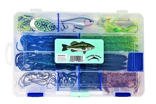 Bass Fishing Lures Tackle Box 60pc 1 Bass Crankbait 1 Topwater Frog 1 Spinnerbait 30 Soft Bait Bass Worms Grubs Stick Bait 10 Bass Worm Hooks 5 Wacky Rig Octopus Hooks 9 Bass Worm Weights 2 Bass Jigs (Tackle Texas)