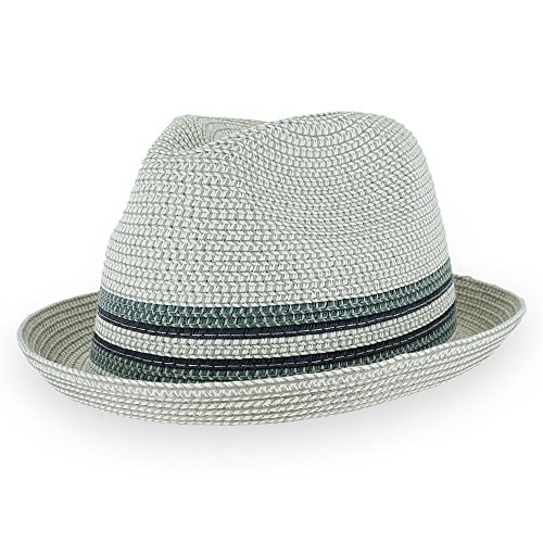 Men/Women Summer Straw Trilby Fedora Hat in Blue, Tan, Black (Large, Daxstorm) ()