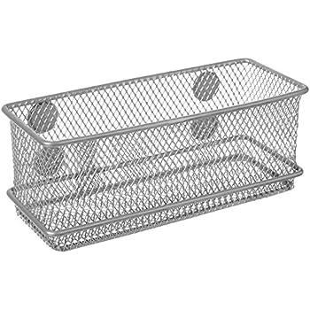 Magnetic Rectangular Metal Mesh Storage Bins, Office Organizer Basket,  Silver