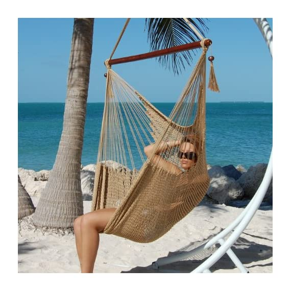 "Caribbean Hammocks Polyester Hanging Chair, Large, 48"" L, Tan - Large size 48 inch: Comfortable for any size person 100% soft-spun polyester cords prevent rot, mold and mildew Hardwood spreader bar with multiple coats of marine varnish: For shine and protection - patio-furniture, patio, hammocks - 51qomYehpBL. SS570  -"