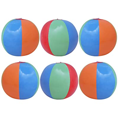 BESTOM 6pcs Beach Ball PVC Durable Six Color Inflatable Children Beach Ball Toy Ball for Ocean Summer Beach Swimming Pool: Toys & Games