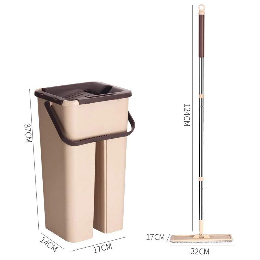 Alelife Flat Mop, Scratch Mop Bucket Rotating Hand Pressure Mop Bucket Free Hand Wash Mop