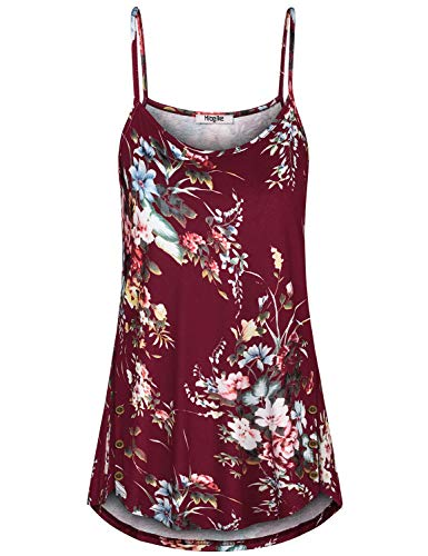 Hibelle Loose Fitting Tops for Women, Floral Sleeveless Spaghetti Strap Basic Womens Camisoles and Tanks Hawaiian Strappy Cami Summer Comfy Knitting Tunic Shirt Wine Red M