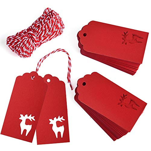 (Gift Tags, Zealor 100 Pieces Red Kraft Paper Gift Tags Deer Design with String for Christmas Gift Bags Party Supplies )
