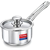 Prestige Platina Induction Base Stainless Steel Sauce Pan, 140mm/1 Litre, Metallic Steel