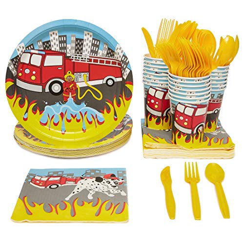 Blue Panda Fire Truck Party Supplies Paper Plates Cutlery (Set of 24)
