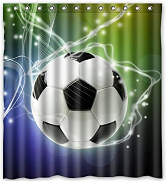 Popular Design Football Shower Curtain 66quotw X 72quoth