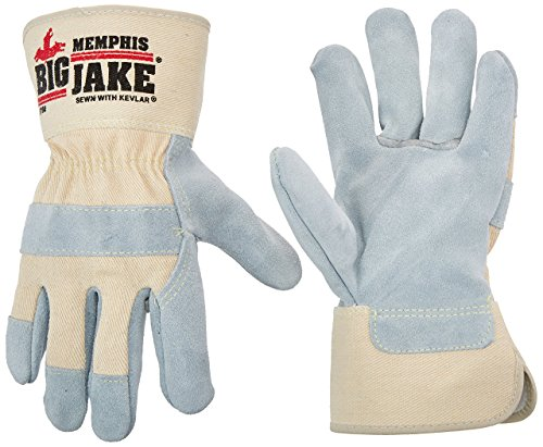 Big Jake Leather - Memphis glove 1700S Big Jake Cow Leather Sewn Kevlar Gloves with 2-3/4-Inch Safety Cuff, Natural Pearl, Small, 1-Pair