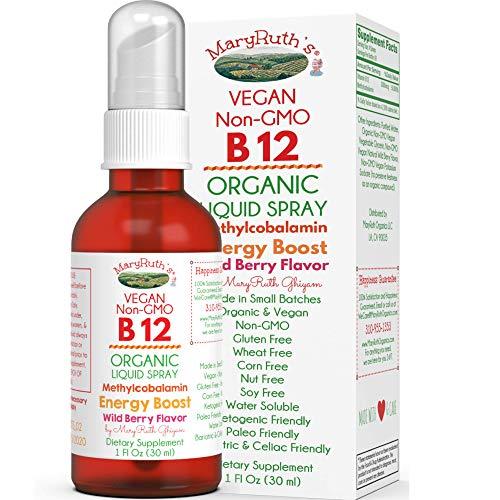 Organic Vitamin B12 (Methylcobalamin) Liquid Sublingual Spray by MaryRuth Liposomal Energy Boost - Sugar Free - Non-GMO Vegan - Gluten Free - Paleo - Bariatric & Celiac 1oz Glass Bottle