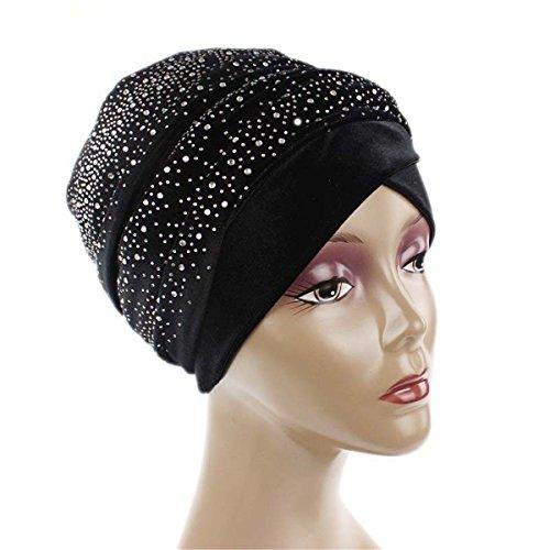 Qhome Fashion Women Luxury Diamante Extra Long Velvet Turban Head Wraps Hijab Head Scarf Turbante