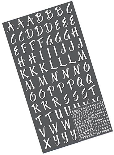 """Custom & Decorative {0.5"""" Inch} 161 Piece Pack of Mid-Size Stickers for Arts, Crafts & Scrapbooking w/ Fun Opal Pearly Classic Glittery Cursive Alphabet Letters & Numbers Shimmery Style (Numbers In Cursive)"""