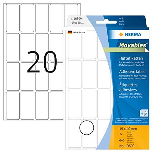 HERMA 10609 - Etiquetas multiuso (640 unidades, 19 x 40 mm), blanco