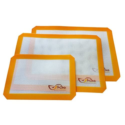 """Rina Bakeware - Silicon Baking Mat - Set of 3 - Non Stick - Food grade - BPA free - High temperature range - cookware set (2 of 16.5"""" x 11.6"""") and(1 of8.3"""" x 11.8"""") - FDA certified"""