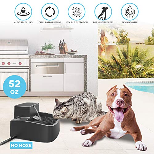 Upgraded Cat Water Fountain Auto Filling,2 in 1 Dog Drinking Fountain and Heated Water Bowl Indoor Outdoor,Garden Water Feeder for Multiple Pets,Thermal Water Bowl,Winter Ice-Free,Anti-Bite Cable,52oz