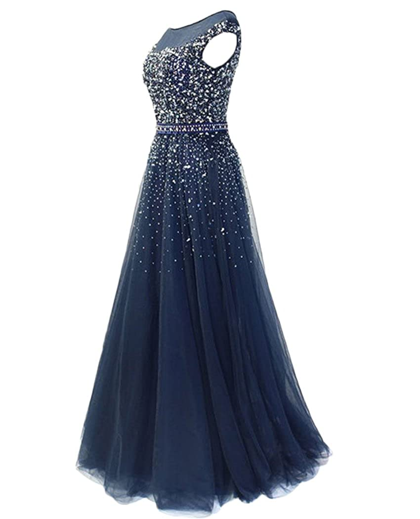 1e39a263f227 QiJunGe Modest Sequin Beaded Prom Gown Floor Length Formal Evening Party  Dress at Amazon Women's Clothing store: