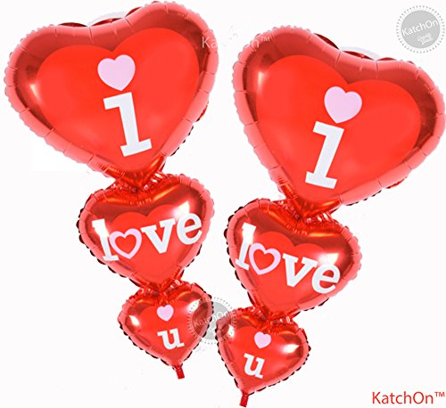 I Love U Balloon Pack of 2 - Helium Supported - Red Love Heart Balloons - Valentine Day Decorations and Gift Idea for Him or Her - Wedding Birthday Decorations - Ribbon & Straw Included