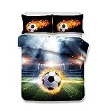 Helengili 3D Digital Printing Bedding Set Football Soccer Center Forward Bedding Bedclothes Duvet Cover Sets Bedlinen 100 Percent Microfiber Present ,Queen