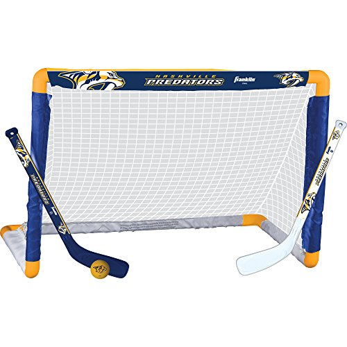 Franklin Sports Nashville Predators Mini Hockey Knee Hockey Goal, Ball & 2 Stick Combo Set - 28