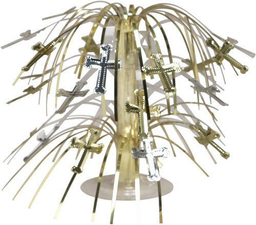 Mini Foil Spray Centerpiece for Baptism, Christening, Confirmation, Communion- Silver and Gold -