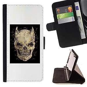 BullDog Case - FOR/Samsung Galaxy S6 / - / DEVIL SKULL HORNS BLACK POSTER DEATH /- Monedero de cuero de la PU Llevar cubierta de la caja con el ID Credit Card Slots Flip funda de cuer
