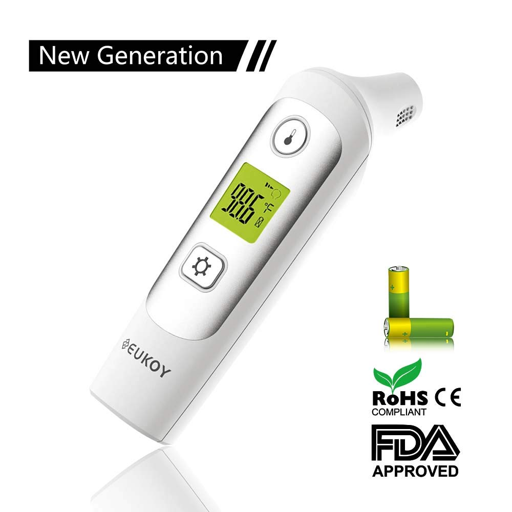 EUKOY Baby Ear and Forehead Thermometer, Digital Infrared Thermometer Professional 4 in 1 Suitable for Baby, Infants, Toddlers, Adults, Objects and Ambient with More Accurate, FDA/CE Approved