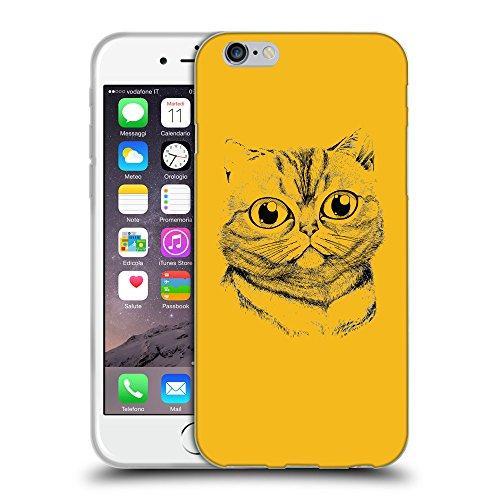"""GoGoMobile Coque de Protection TPU Silicone Case pour // Q07750602 Visage de chat 2 ambre // Apple iPhone 6 4.7"""""""
