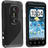 eForCity® TPU Rubber Skin Case Compatible with HTC EVO 3D, Frost Black S Shape