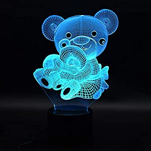 3D Illusion USB Powered Mama Bear and Baby Bear Color Changing Infant Night Light with Wireless Bluetooth Speaker and Optional AC Adapter for Boys and Girls