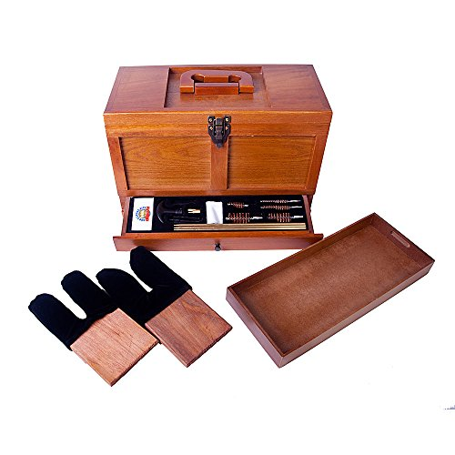 Gunmaster Wood Toolbox 17 Piece Universal Gun Cleaning Kit - Dac Pistol Cleaning Kit