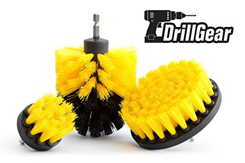 Price comparison product image Multi-purpose Power Drill Brush Attachment by Drill Gear - for Cleaning Bathroom,  Kitchen,  Grout,  Shower,  Sink,  Bathtub,  Porcelain,  Tiles - Set of 3 - Medium Stiffness - Yellow