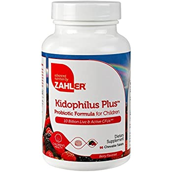 Zahler Kidophilus Plus, Chewable Kids Probiotics, All Natural Great Tasting Acidophilus for Children, Certified Kosher, 90 Chewable Tablets