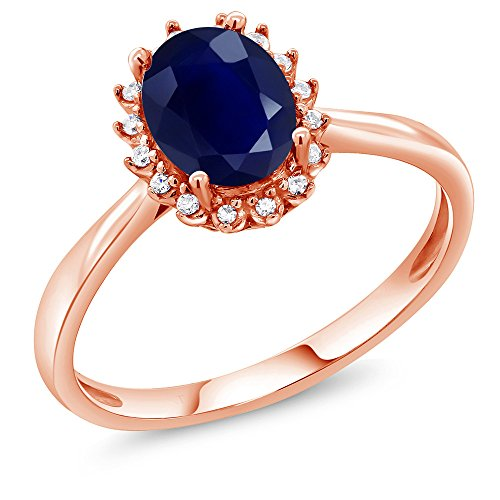 Sapphire Accent Ring (10K Rose Gold Blue Sapphire and Diamond Accent Women's Ring 1.79 Ct Oval (Size 9))