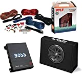 "Car Subwoofer And Amp Combo: Kicker 10TC104 Comp 10"" 300W Audio Subwoofers Bundle With Boss Riot 1100 Watt Mono Car Audio Power Amplifier + 8 Gauge Marine Amplifier Installation Kit"