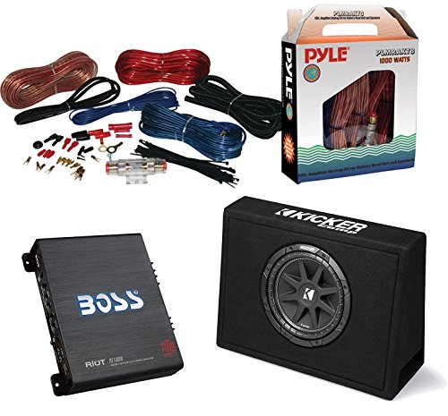 "Car Subwoofer And Amp Combo: Kicker 10TC104 Comp 10"" 300W Audio Subwoofers Bundle With Boss Riot 1100 Watt Mono Car Audio Power Amplifier + 8 Gauge Marine Amplifier Installation Kit - Kicker Assembly"
