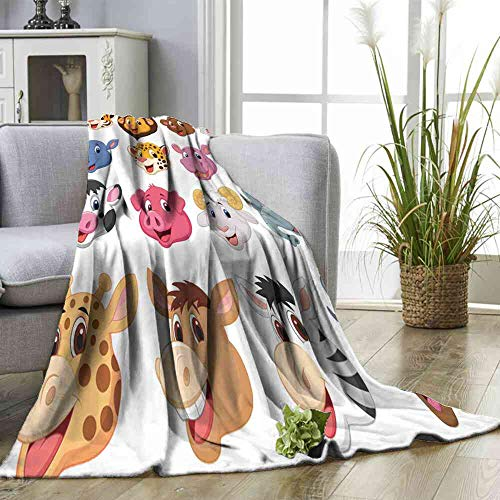 - Blanket Cartoon Animal Head Collection Set Full Blanket for Bed Size:50