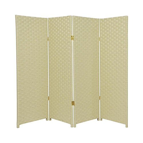 MD Group Room Divider Woven Fiber 4-ft Tall 4-Panel Cream Foldable Double Sided Lightweight by MD Group